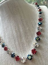 Red White Blue -8MM SWAROVSKI Crystal Elements Necklace Jewelry Earrings Set New