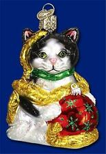 BLACK & WHITE HOLIDAY KITTEN CAT OLD WORLD CHRISTMAS GLASS ORNAMENT NWT 12223