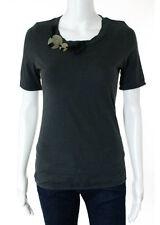 MARNI Dark Gray Embellished Neckline Short Sleeve Tee Shirt Top Sz 42