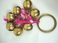Vintage Brass Bells  Clams Shaped Door Shop /store  7 Bells On Pink. Rope .