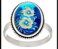 STERLING SILVER BLUE BALTIC AMBER CARVED FLOWER DESIGN RING SIZE 7 QVC $99.50