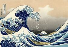 "Great Wave of Kanagawa *FRAMED* CANVAS ART 24x16"" Vintage Japanese Art Hokusai"
