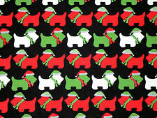 SCOTTIES  SCOTTY DOG TERRIER CHRISTMAS ROBERT KAUFMAN 100% COTTON FABRIC YARDAGE
