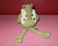 Vintage 1980s Fabric FROG SHELF SITTER FIGURINE Cloth Mixed
