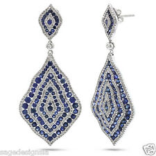 9.87CT 14K White Gold Diamond and Blue Sapphire Vintage Antique Design Earrings