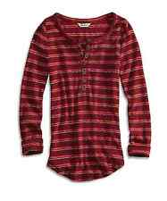 Lucky Brand - S - NWT - Red Striped L/S Henley Thermal Waffle Knit Top Shirt