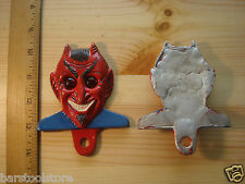 Aluminum DEVIL with Red Jewel Reflector License Plate Fob Metal Car Tag Topper