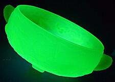 LARGE ART DECO BAGLEY MARINE FISH GLASS URANIUM GREEN FROSTED GLASS BOWL DISH