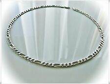 Vintage Sterling Silver 925 Unisex HEAVY ITALY Figaro Chain Necklace 24 Inches