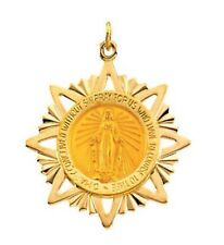 MIRACULOUS MEDAL 14K Yellow Gold 32 x 29mm Round Filigree Framed Virgin Mary