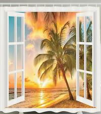 OPEN WHITE WINDOW TROPICAL PALM TREES SUNSET OCEAN BEACH BATHROOM SHOWER CURTAIN