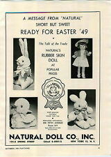 1948 PAPER AD Natural Rubber Skin Doll Ritzy Chubby Baby Milton Bradley Games