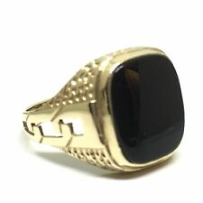 Vintage Gents Large Onyx Fancy Signet Ring Gold 9ct Size S