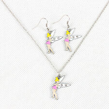 Fairy Bell Pendant Girl Kid Party Bag Favor Necklace Earring Set Birthday Gift