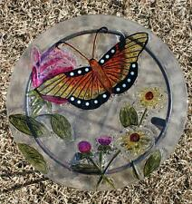 New Painted Stained Glass Monarch Buttterfly Bird Bath Feeder Bowl w Stand # B