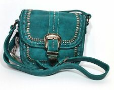 Montana West Silver Beads Embellished Western Bag Cross Body Bag Turquoise Color