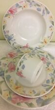 Lynns Fine China 4 Piece Place Setting Blue Yellow Pink Flowers Colorful Design
