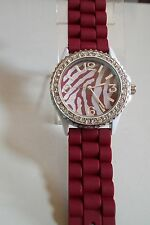 Geneva Deep Red/White Crystal Encrusted Silicone Band Wrist Fashion Watch