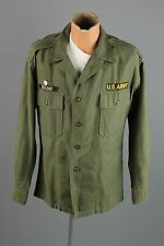 Vtg Vietnam War Cotton Sateen Fatigue Shirt sz L In Country Made Patch #2096