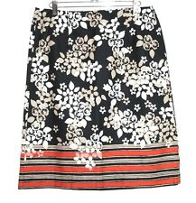 Bass - 4 (S) - NWT - Multi-Color Floral Striped Print 100% Cotton Pencil Skirt