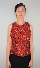 New Vintage 80's 90's Red Glass Bead & Sequin Top Blouse Lawrence Kazar Size L
