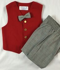 Imp Originals Boys Size 4 Years Red Vest Plaid Pants & Bow Tie Holiday Outfit