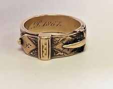 Vintage Victorian 14k Yellow Gold 5.8mm 'Mourning' Buckle Ring DATED 1867