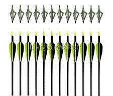 """12PK Tir à l'arc32"""" Vert et noir Flèches De En Fibre De Verre&12 Lame Broadheads"""