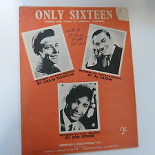 song sheet ONLY SIXTEEN Craig Douglas A Saxon Sam Cook 1958