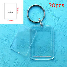 20pcs Transparent Blank Insert Photo Picture Frame Keyrings Split Ring Keychain