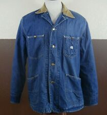 VTG Lee 81-LJ Denim Work Barn Chore Jacket Coat Coverall Indigo Union MadeUSA 42