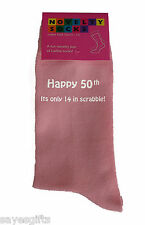 Happy 50th its only 14 in Scrabble Printed Ladies Pink Socks 50th Birthday Gift