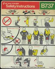 AIR NEW ZEALAND B 737 series SAFETY CARD airline brochure leaflet ee e196