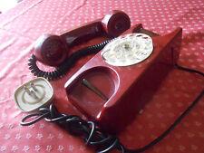 Telefono da Tavolo ROSSO con DISCO COMBINATORE - Vintage TASTIERA Collezione