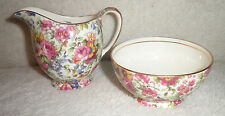 VINTAGE ROYAL WINTON SUMMERTIME CHINTZ ALBANS CREAMER & OPEN SUGAR SET 1960