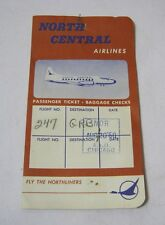 North Central Airlines 1960 Vintage Passenger Ticket Receipt Baggage Checks  T*