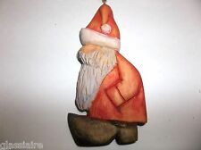 Folk Art Carved Wood Belsnickle Christmas Tree Ornament SANTA Signed