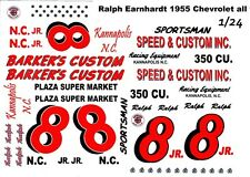 #8 Ralph Earnhardt Barker's Custom 1955 Chevrolet 1/25th - 1/24th Scale Decals