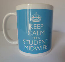 Keep Calm I'm a Student Midwife Mug In Carry On Style - Blue Midwifery Gift Mug