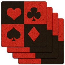 Casino Party Card Poker Game Night Low Profile Cork Coaster Set