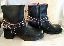 NOS BARBIE Buster Brown Faux Black Leather & Pink Ankle Boots Side Zip Moto Sz 3