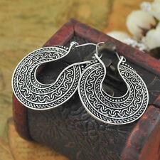 Antique Unique Thai Silver Vintage Style Women's Hook Hoop Earrings