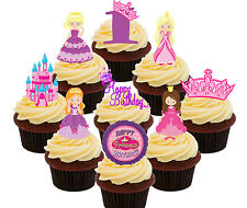 1st Birthday Princess Edible Cup Cake Toppers, 36 Standup Fairy Decorations Girl