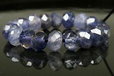 Translucent Sparkling Iolite Micro-Faceted Rondelle Bead- 6x4mm- 18 beads -4222A