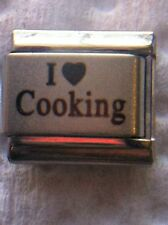 """""""I LOVE COOKING"""" SILVER 9 MM ITALIAN CHARM-CHEF, SHORT ORDER, BREAKFAST, LUNCH"""