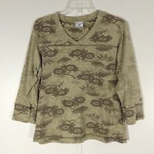 Womens Large Columbia 3/4 Sleeve Casual Knit Shirt Olive Sage Plants Floral