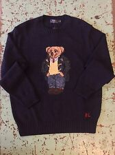 Polo Ralph Lauren Preppy Navy Blue  Polo BEAR Sweater Mens Large!!!
