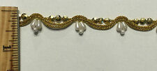 Metallic Gold Braid Gimp with Pearls and Beads - 8 Continuous yards