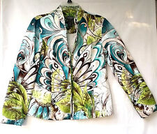 Chico's Peacock Jacket Blazer Top Size 1 Additions