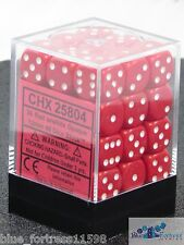 CHESSEX opaque 12mm SET OF (36) D6 RED AND WHITE DICE